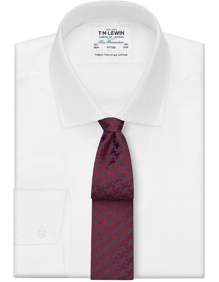 Premium Burgundy Dogtooth Silk Wool Slim Tie image 2