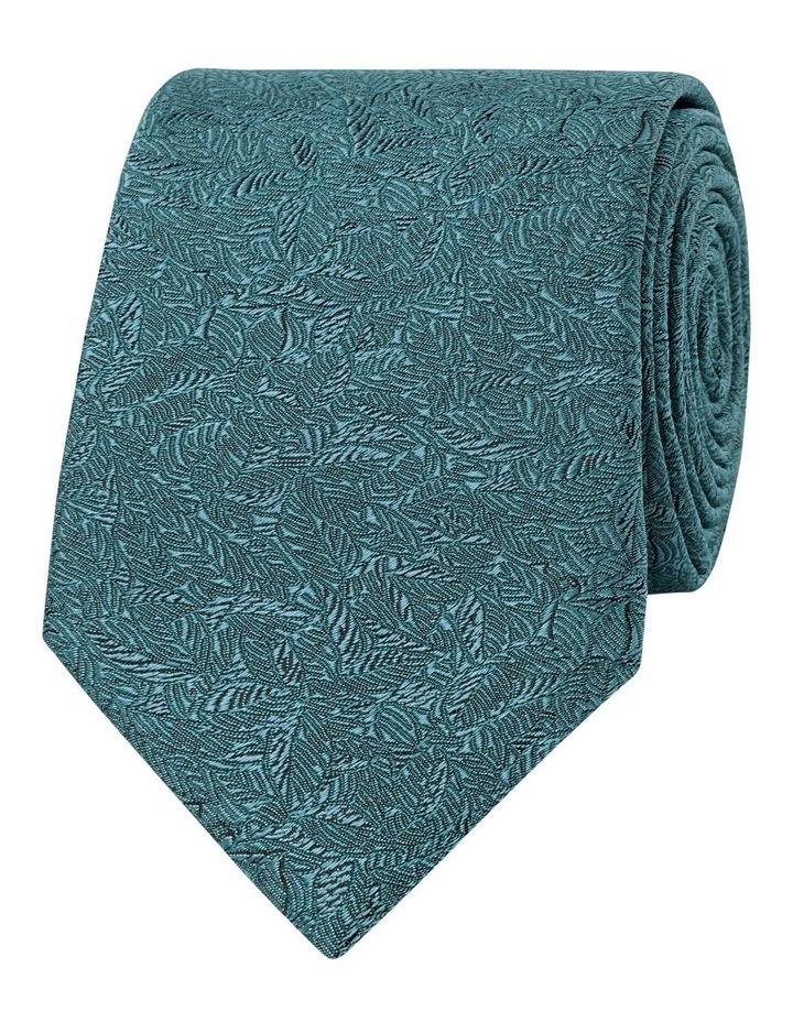 Premium Green Shadow Leaf Silk Slim Tie image 1