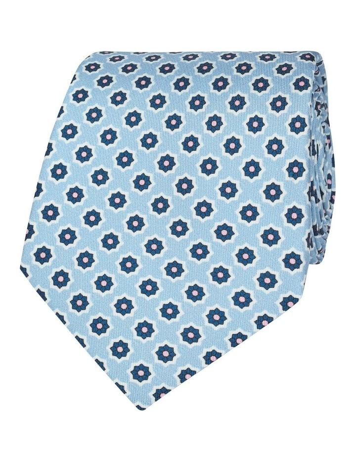 Blue Geometric Flower Print Silk Tie image 1