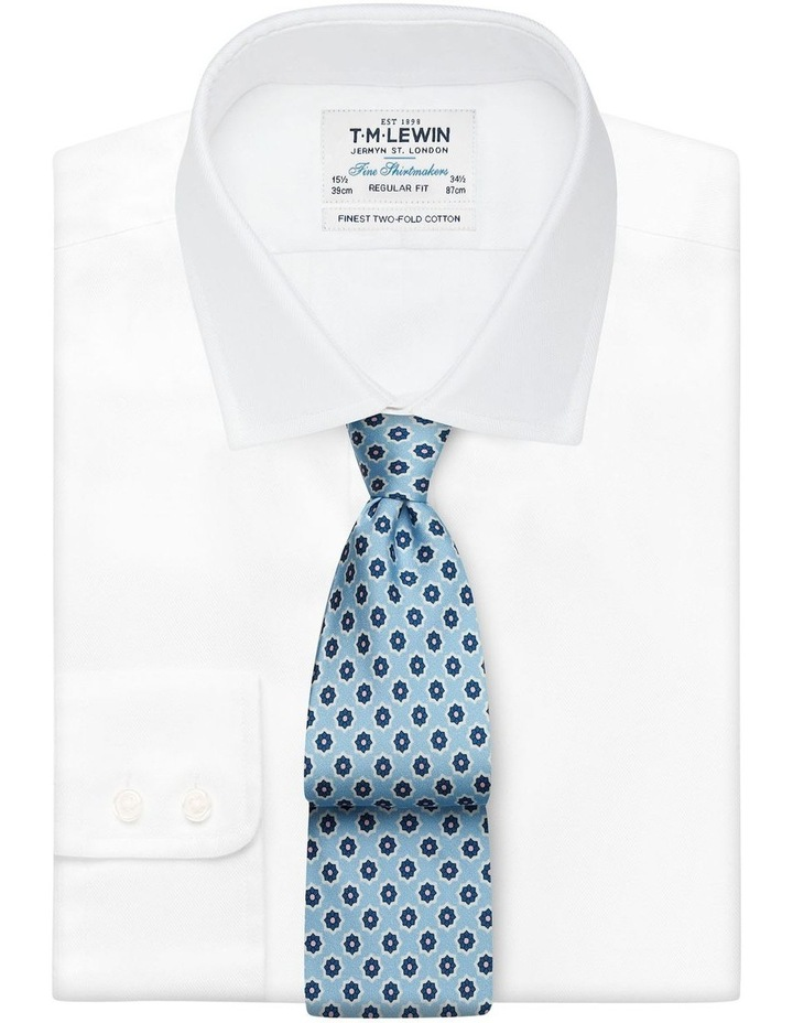 Blue Geometric Flower Print Silk Tie image 2