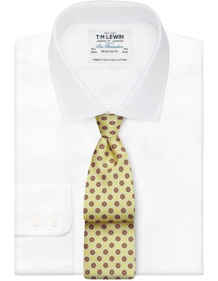 Yellow Geometric Flower Print Silk Tie image 2