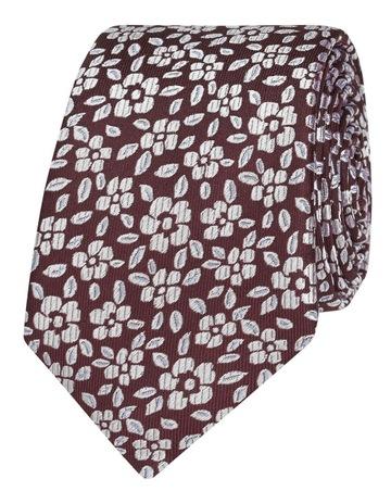 f04a9d3ea942 T.M LewinBurgundy Floral Jacquard Silk Slim. T.M Lewin Burgundy Floral  Jacquard Silk Slim