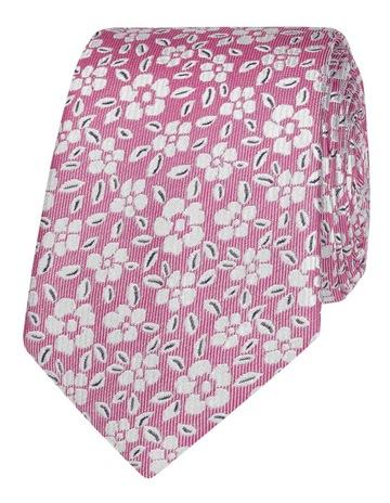 3ad09c31262e T.M Lewin Pink Floral Jacquard Silk Slim Tie