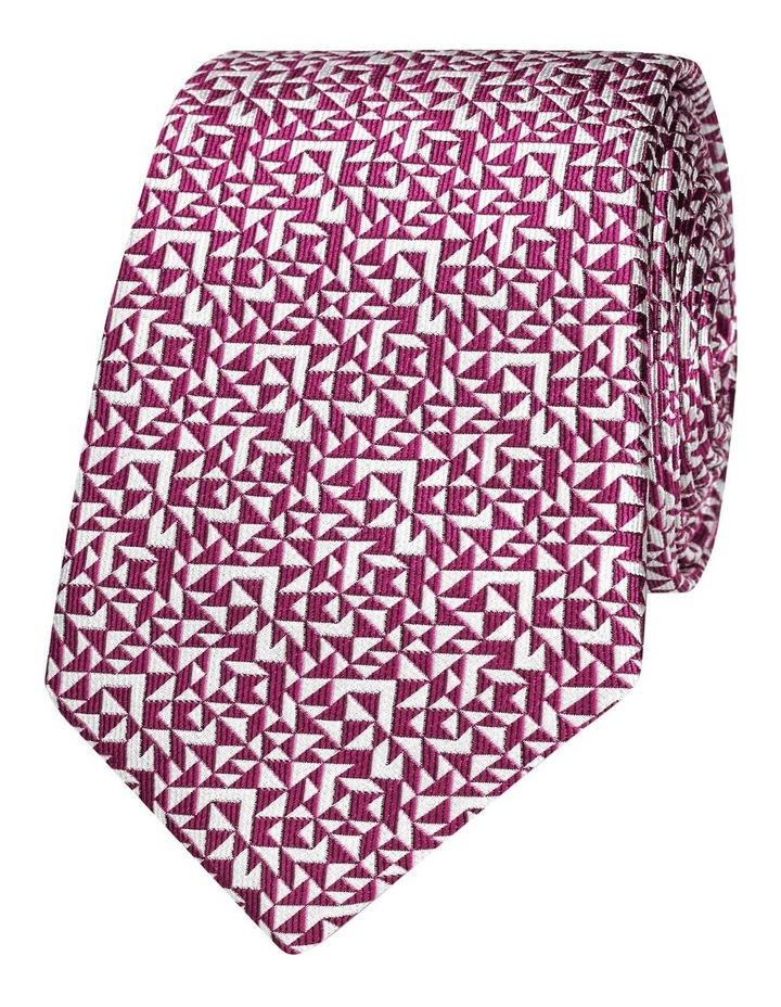 Pink Abstract Triangle Silk Slim Tie image 1