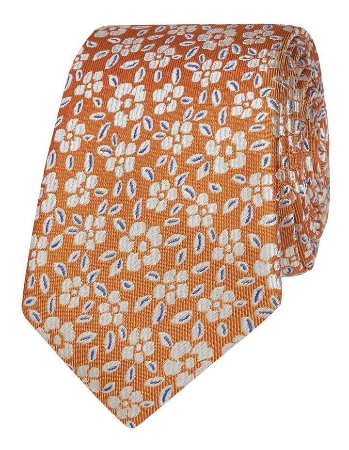 Orange Floral Jacquard Silk Slim Tie image 1