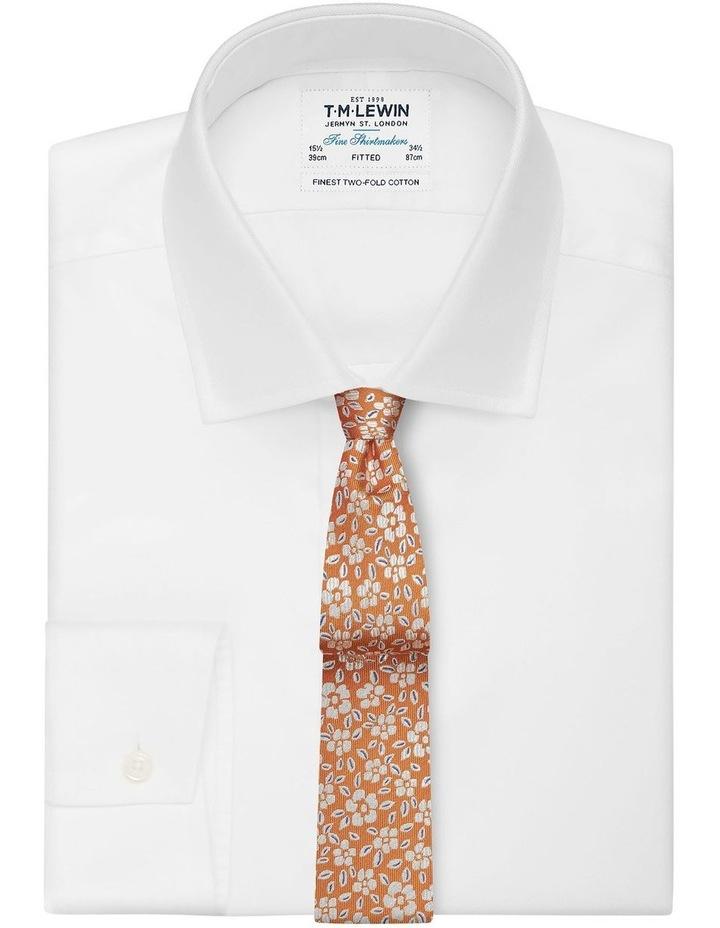 Orange Floral Jacquard Silk Slim Tie image 2