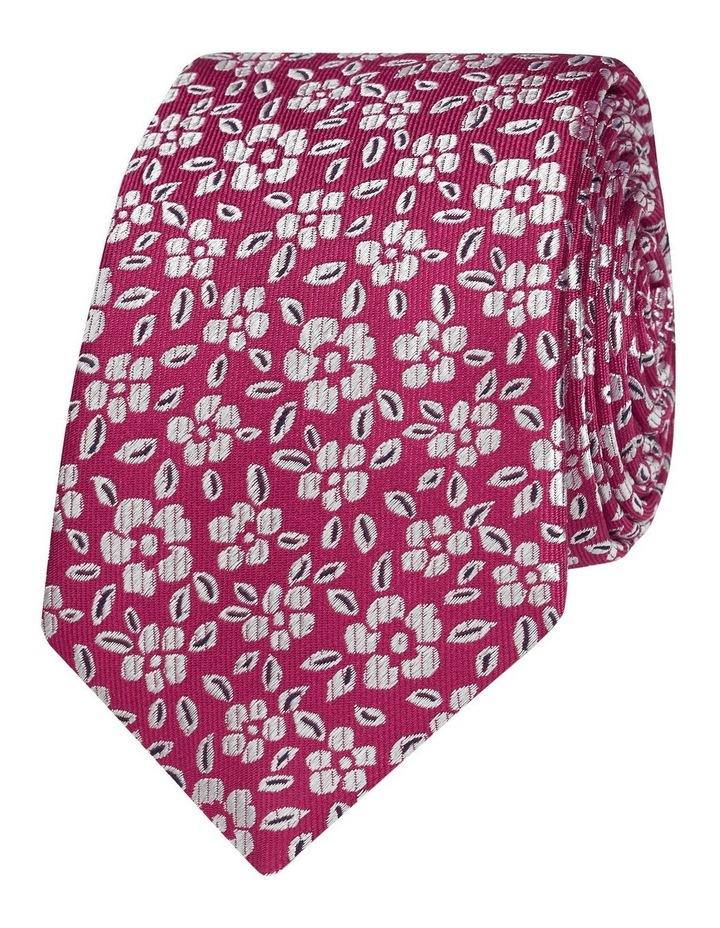 Fuschia Floral Jacquard Silk Slim Tie image 1