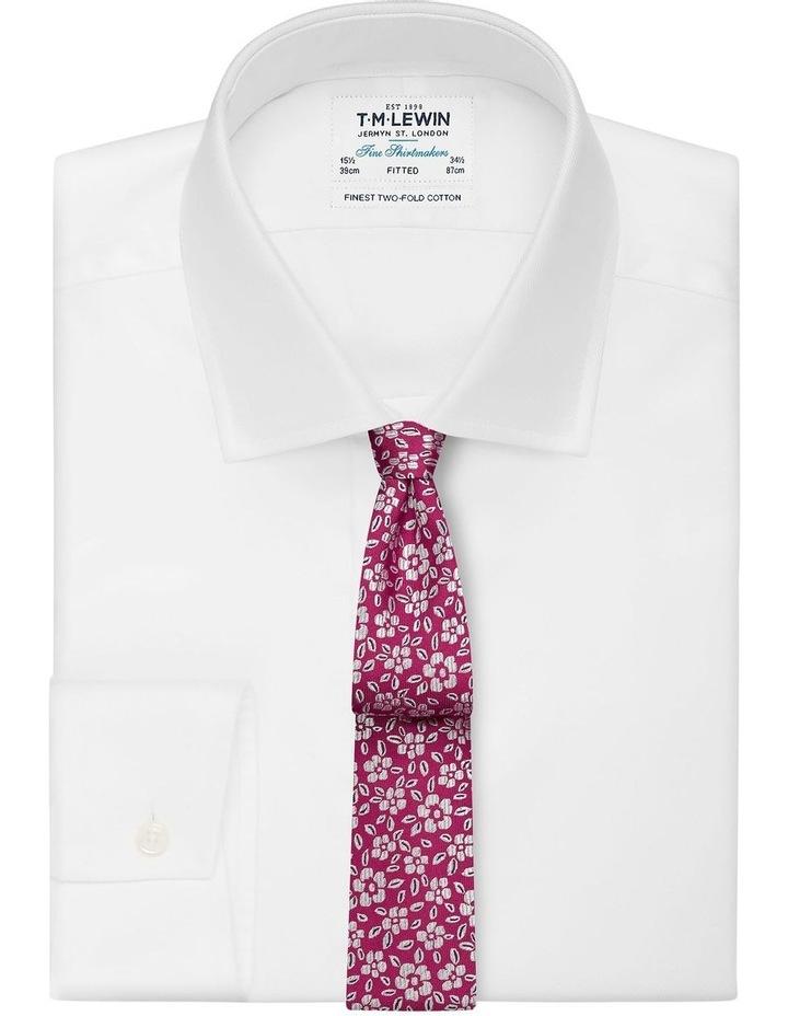 Fuschia Floral Jacquard Silk Slim Tie image 2