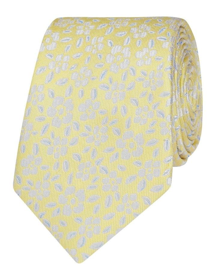 Yellow Floral Jacquard Silk Slim Tie image 1
