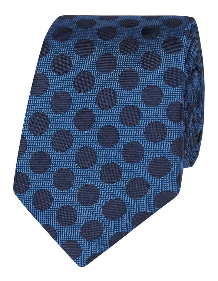 Blue And Navy Large Polka Dot Silk Slim Tie image 1
