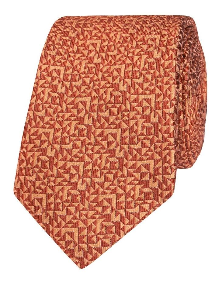 Orange Abstract Triangle Silk Slim Tie image 1