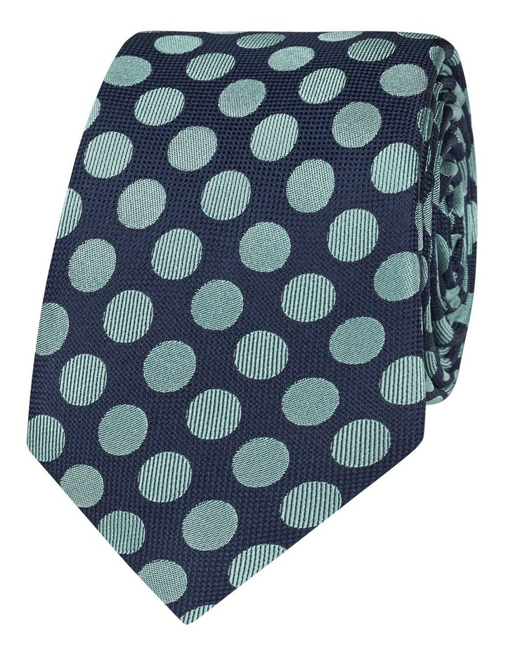 Navy And Mint Large Polka Dot Silk Slim Tie image 1