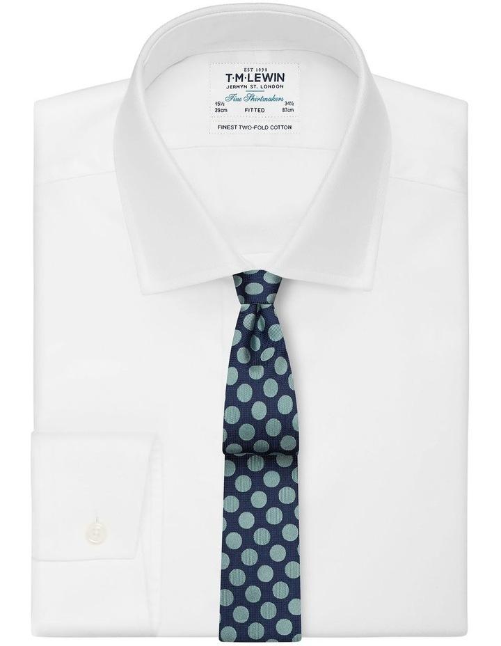 Navy And Mint Large Polka Dot Silk Slim Tie image 2