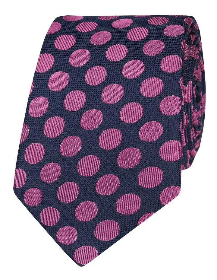Navy And Pink Large Polka Dot Silk Slim Tie image 1