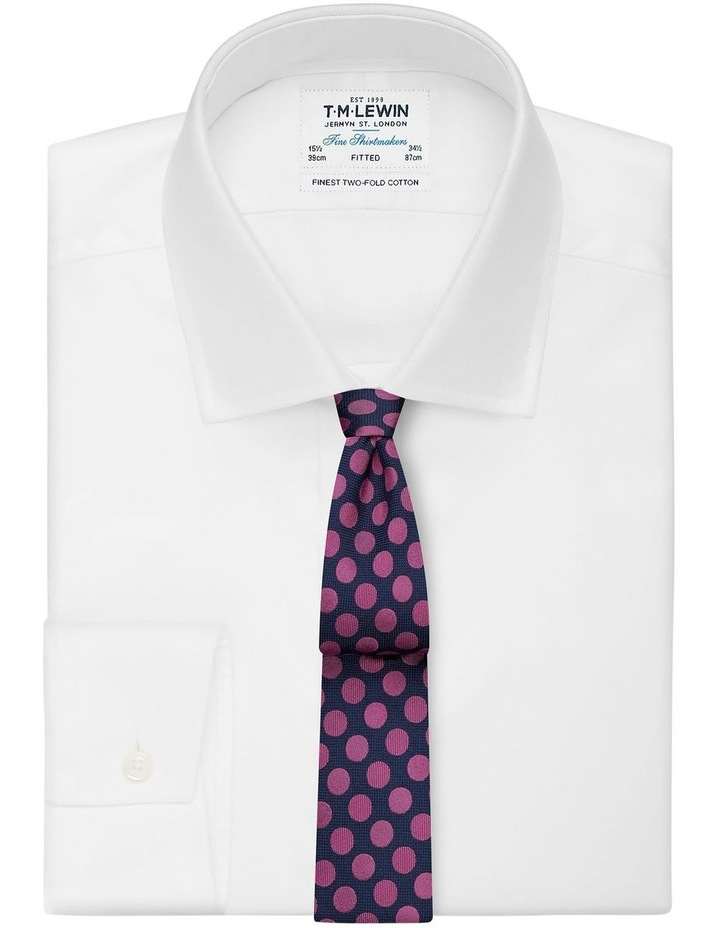 Navy And Pink Large Polka Dot Silk Slim Tie image 2