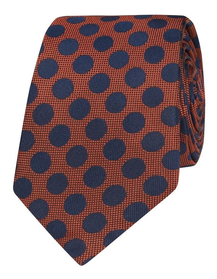 Orange And Navy Large Polka Dot Silk Slim Tie image 1