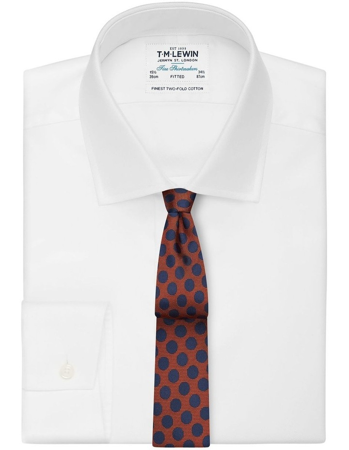 Orange And Navy Large Polka Dot Silk Slim Tie image 2