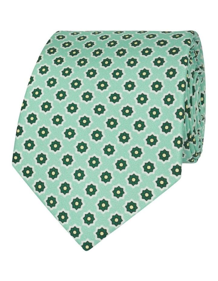 Green Geometric Flower Print Silk Tie image 1