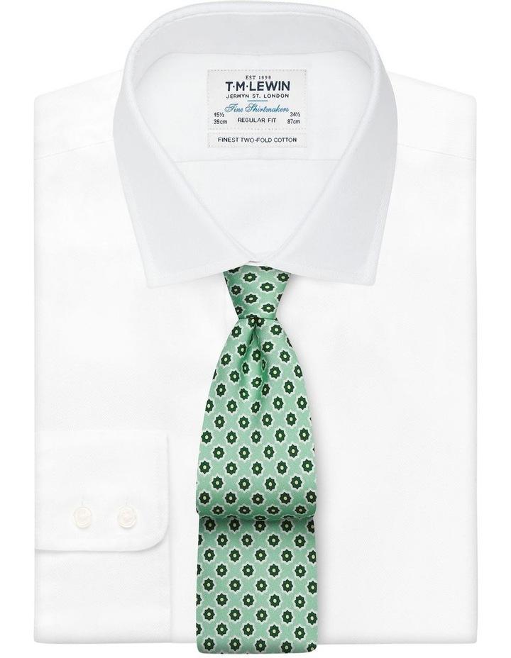 Green Geometric Flower Print Silk Tie image 2