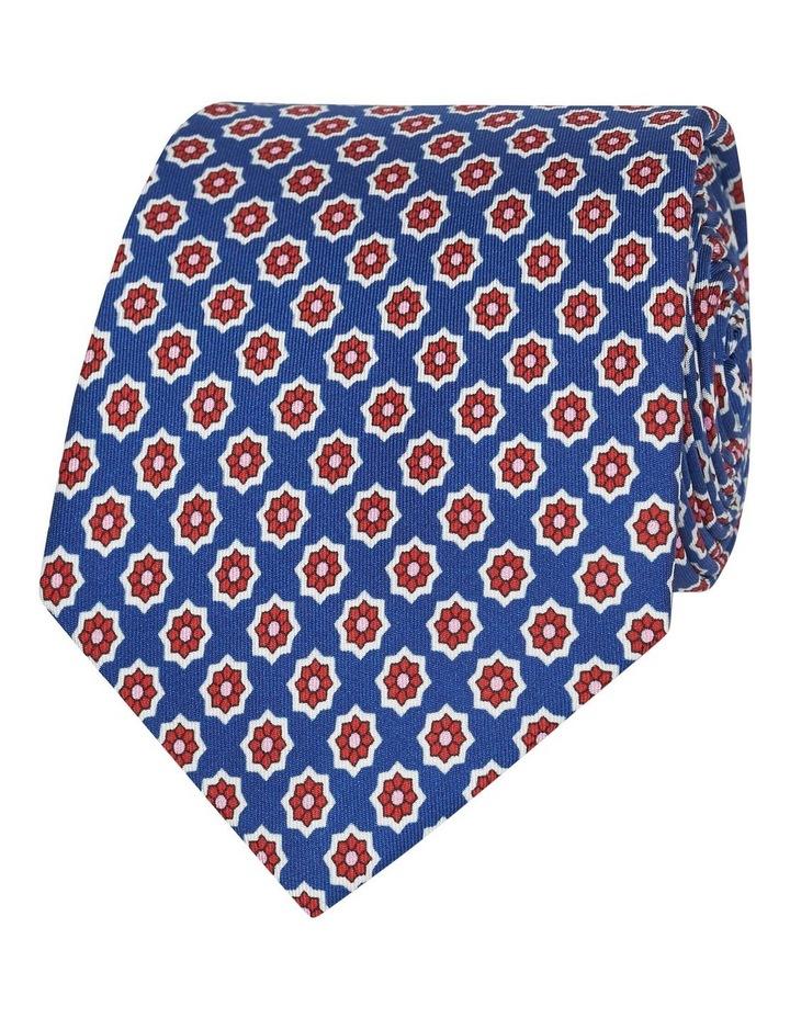 Royal Blue Geometric Flower Print Silk Tie image 1