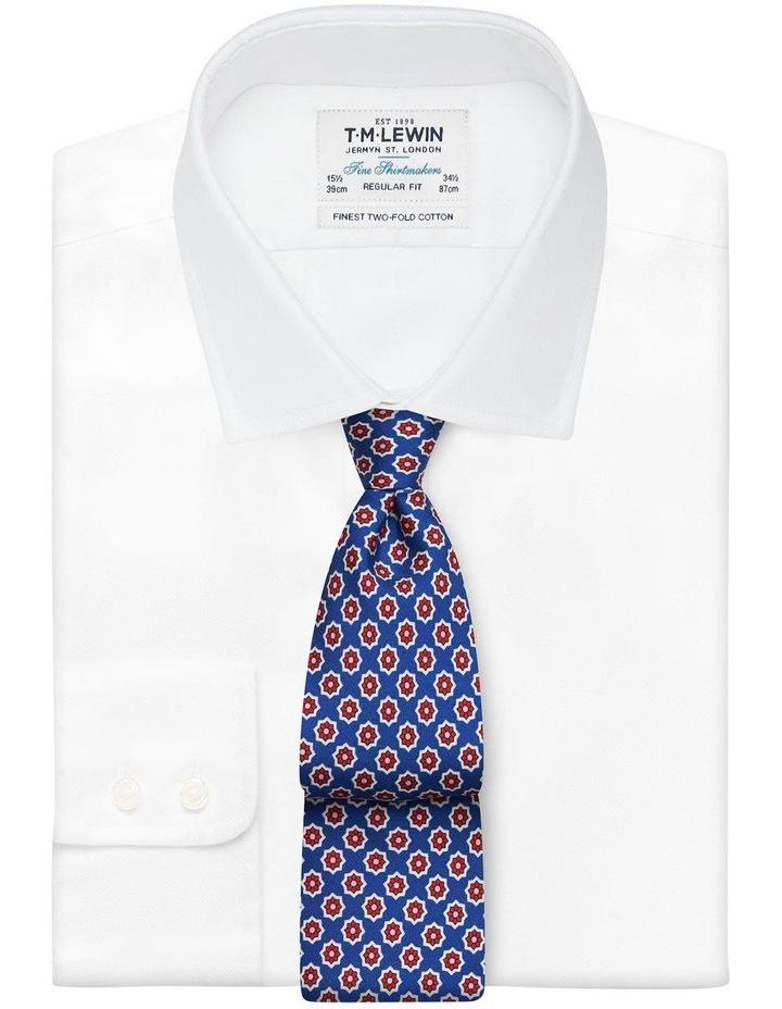 Royal Blue Geometric Flower Print Silk Tie image 2