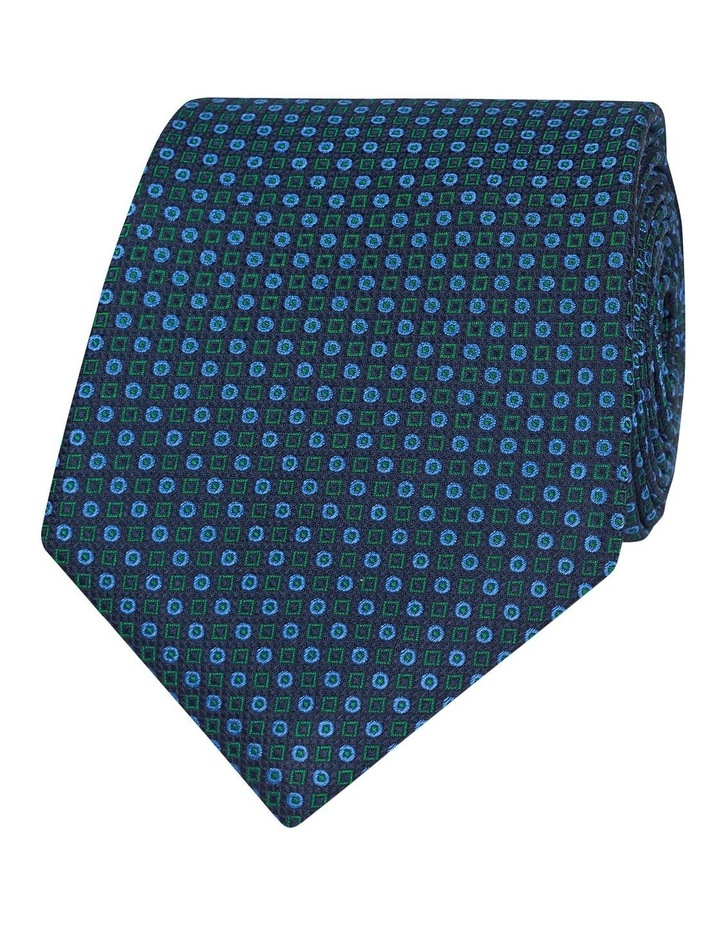 Navy And Green Geometric Spot Silk Tie image 1