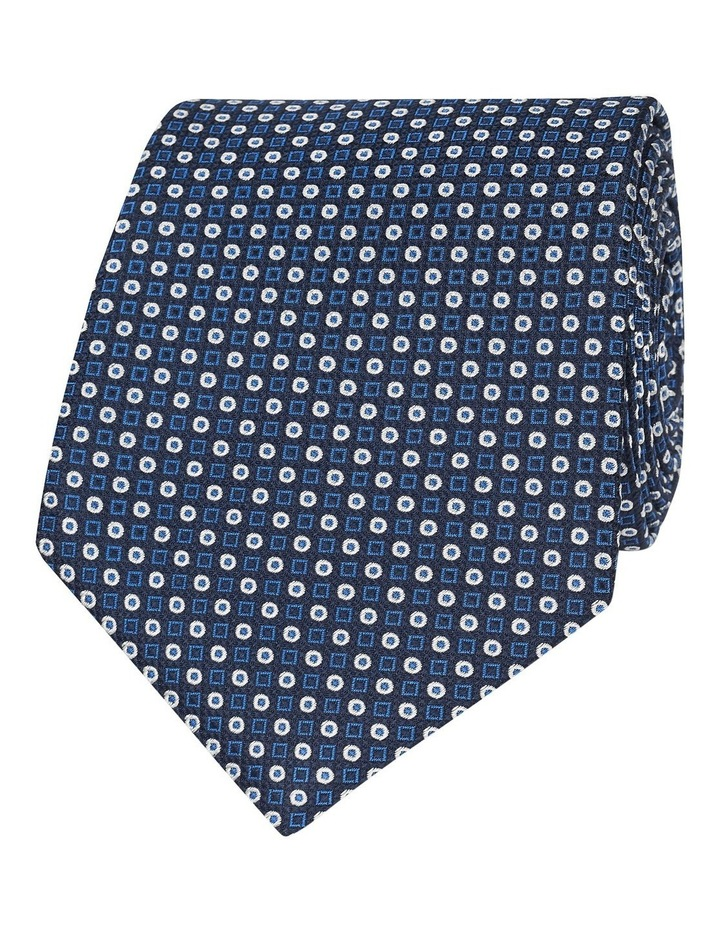 Navy And Blue Geometric Spot Silk Tie image 1