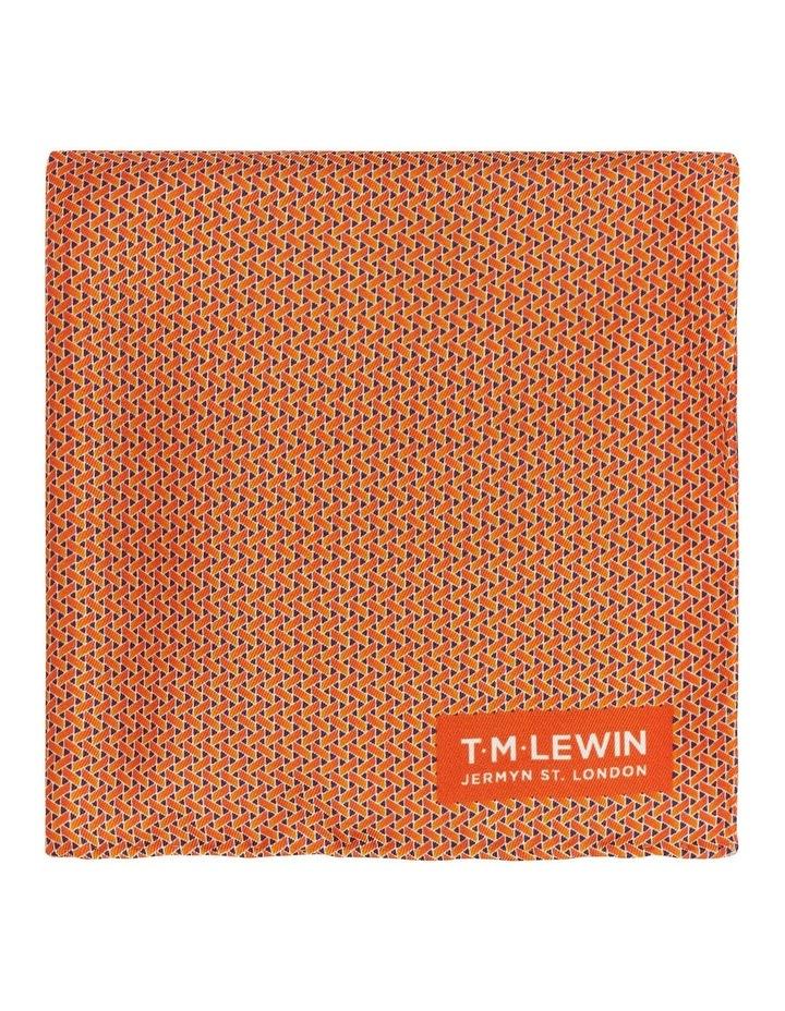 Orange Basket Weave Silk Pocket Square image 1