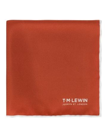 T.M.Lewin Mens Blue Border Semi Plain Silk Pocket Square