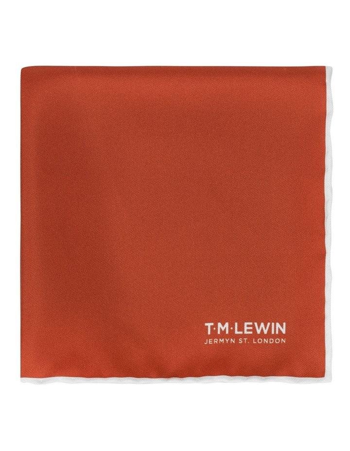 Burnt Orange Plain Silk Pocket Square image 1