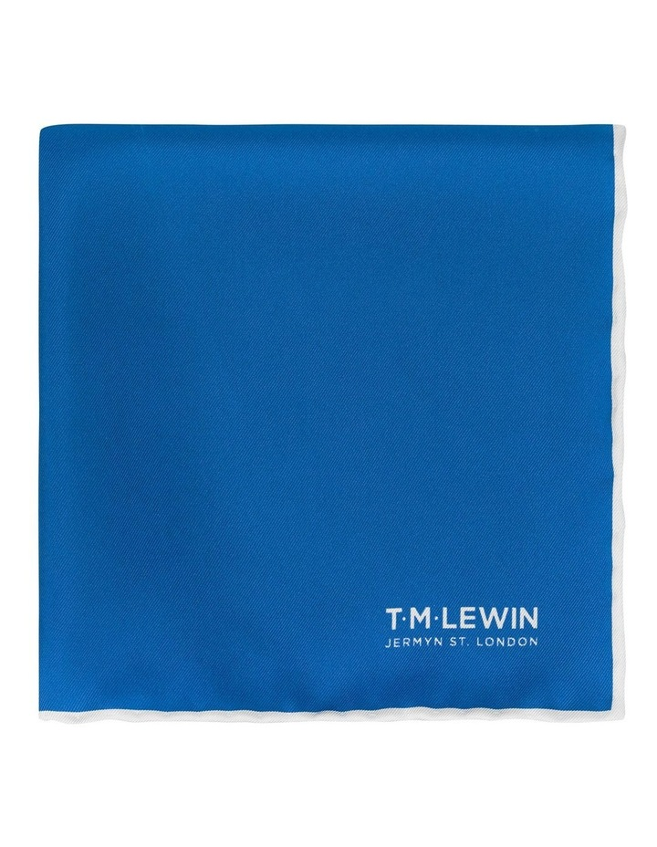 Royal Blue Plain Silk Pocket Square image 1