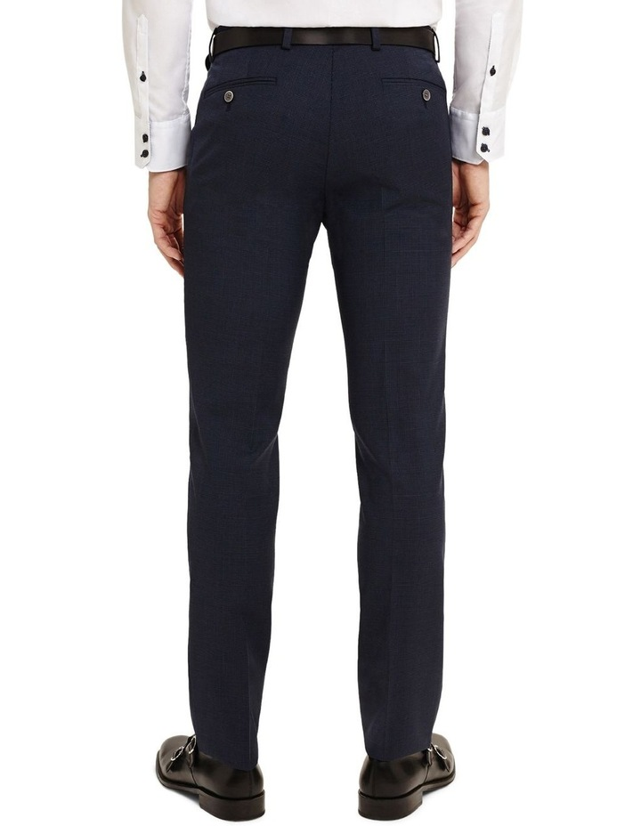 Finchley Blue Textured Pin Dot Skinny Fit Power Stretch Trousers image 2