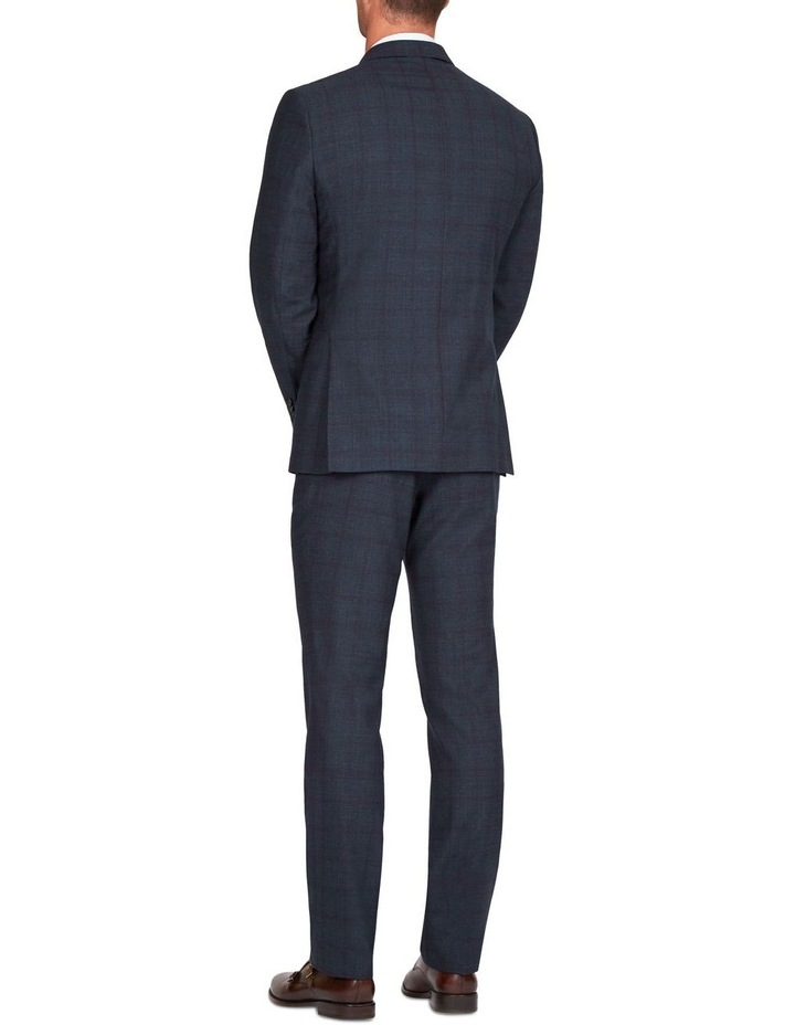 Bolt Navy Check Slim Fit Infinity Active Trousers image 3