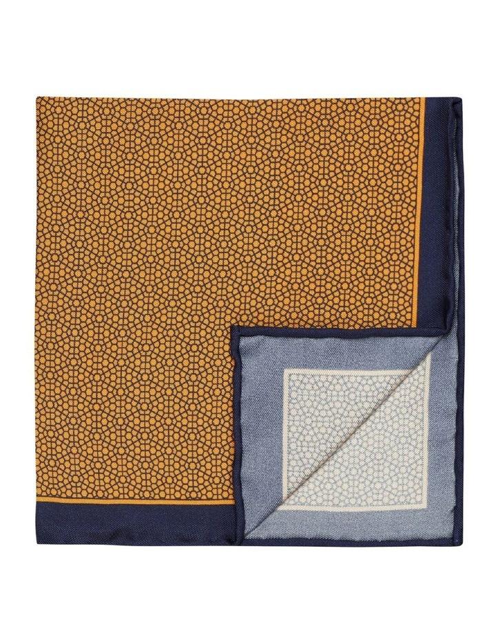 Orange Geometric Print Silk Pocket Square image 1