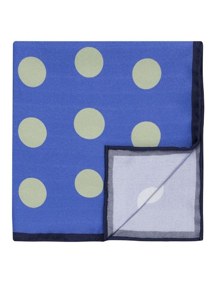 Blue and Mint Polka Dot Silk Pocket Square image 1