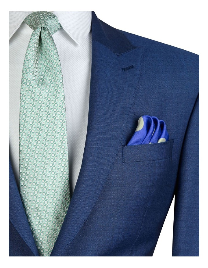 Blue and Mint Polka Dot Silk Pocket Square image 2