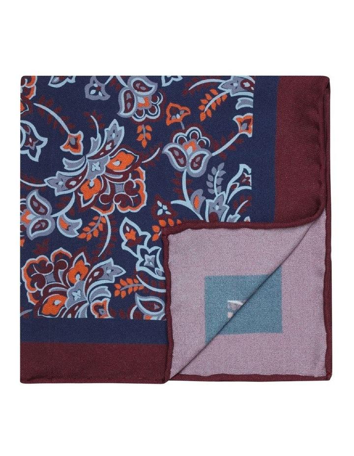 Navy and Burgundy Ornate Floral Silk Pocket Square image 1