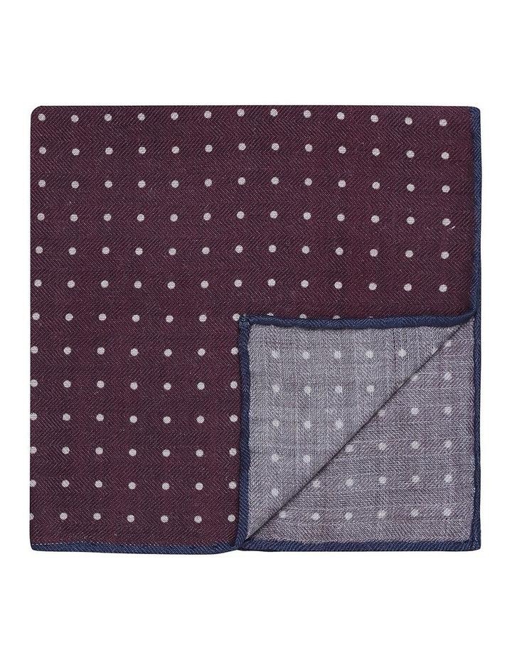 Burgandy Pin Spot Silk Wool Pocket Square image 1
