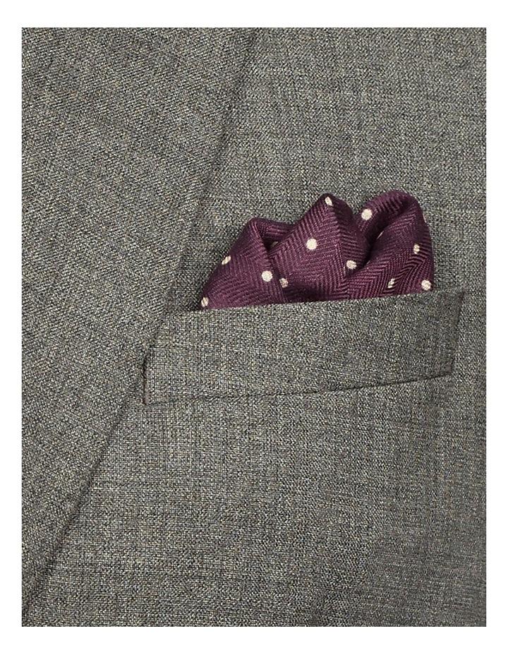 Burgandy Pin Spot Silk Wool Pocket Square image 2
