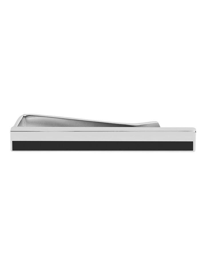 Black And Silver Stripe Tie Slide image 1