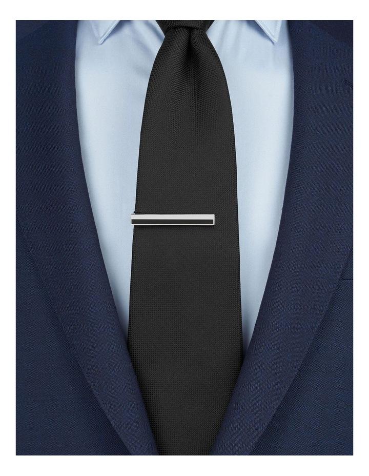 Black And Silver Stripe Tie Slide image 2