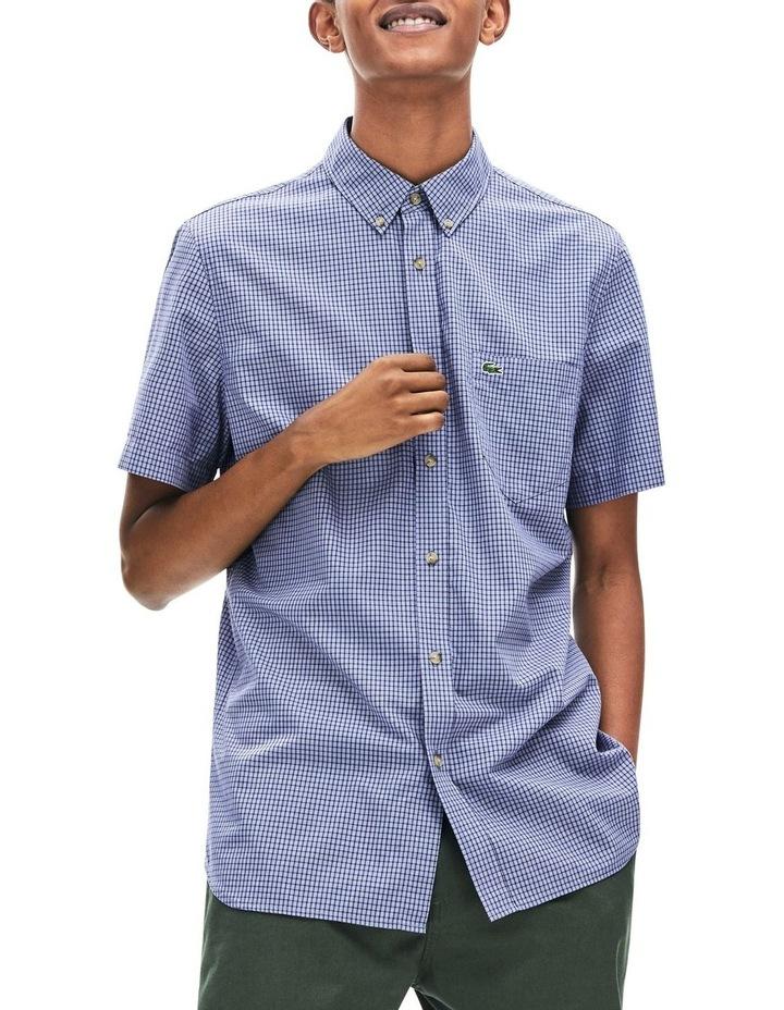 Regular Fit Gingham Poplin Short Sleeve Shirt image 1