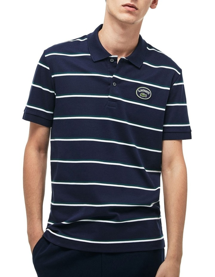 Stripe Interlock Polo With Badge image 1