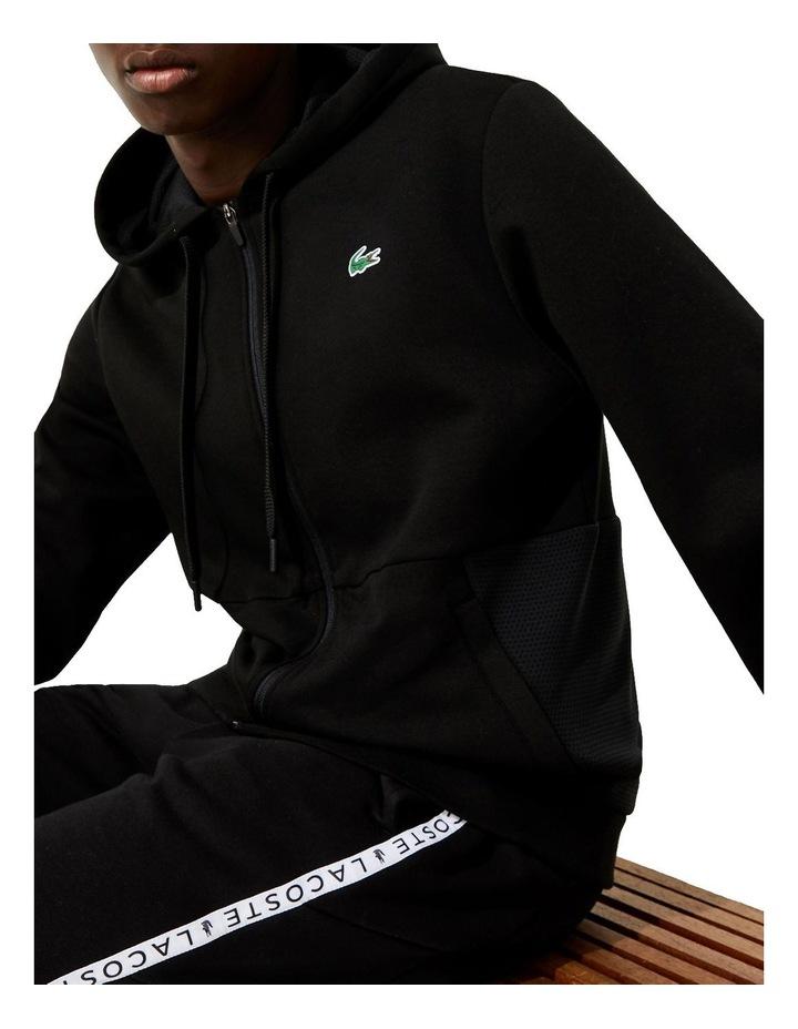 Performance Zip Front Sweat Top in Black image 3