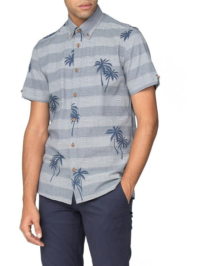 Striped Palm Print Short Sleeve Shirt image 1