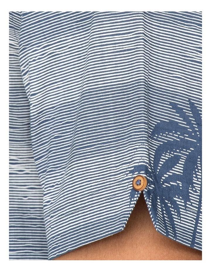 Striped Palm Print Short Sleeve Shirt image 3
