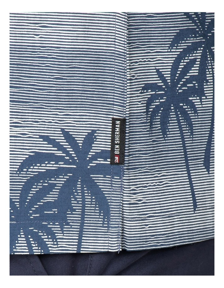 Striped Palm Print Short Sleeve Shirt image 5