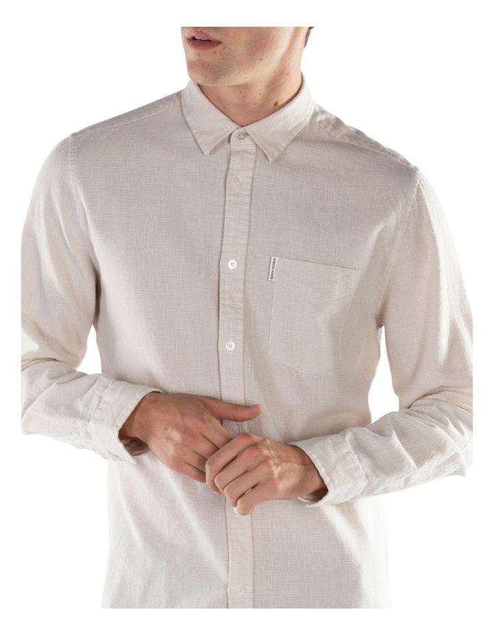 Linen Long Sleeve Shirt- Off White image 1