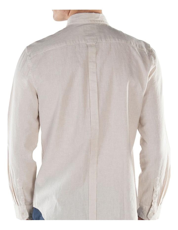 Linen Long Sleeve Shirt- Off White image 2