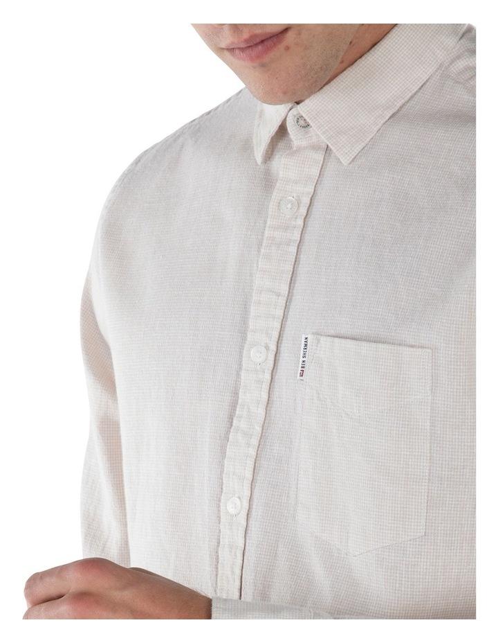 Linen Long Sleeve Shirt- Off White image 3